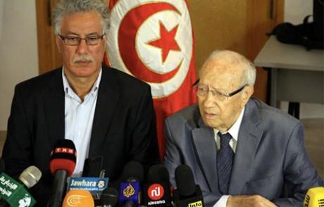Hamma Hammami  (Frente Popolar) et Beji Caid Essebsi (Nidé Tunis)
