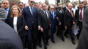 Il presidente beji Caid Essebsi con altri capi di Stato alla marcia contro il terrorismo del 29 marzo 2015 Crédit photo : Direct matin.fr