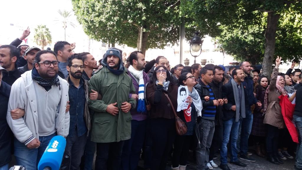 Manifestazione a Tunisi in solidarietà con la rivolta di Kasserine e delle altre regioni Foto: Hamadi Zribi- Tunisia in Red